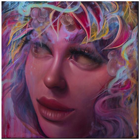 TATI SUAREZ  REFLEXA , 2016  Oil and aerosol on canvas. Signed lower right  48 x 48 in.