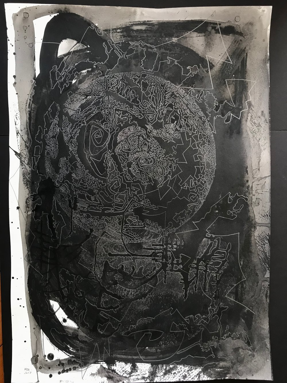 KEN HIRATSUKA  Dreaming Energy , 2017  Latex and graphite on paper. Signed and dated lower left  39.5 x 27.5 in.