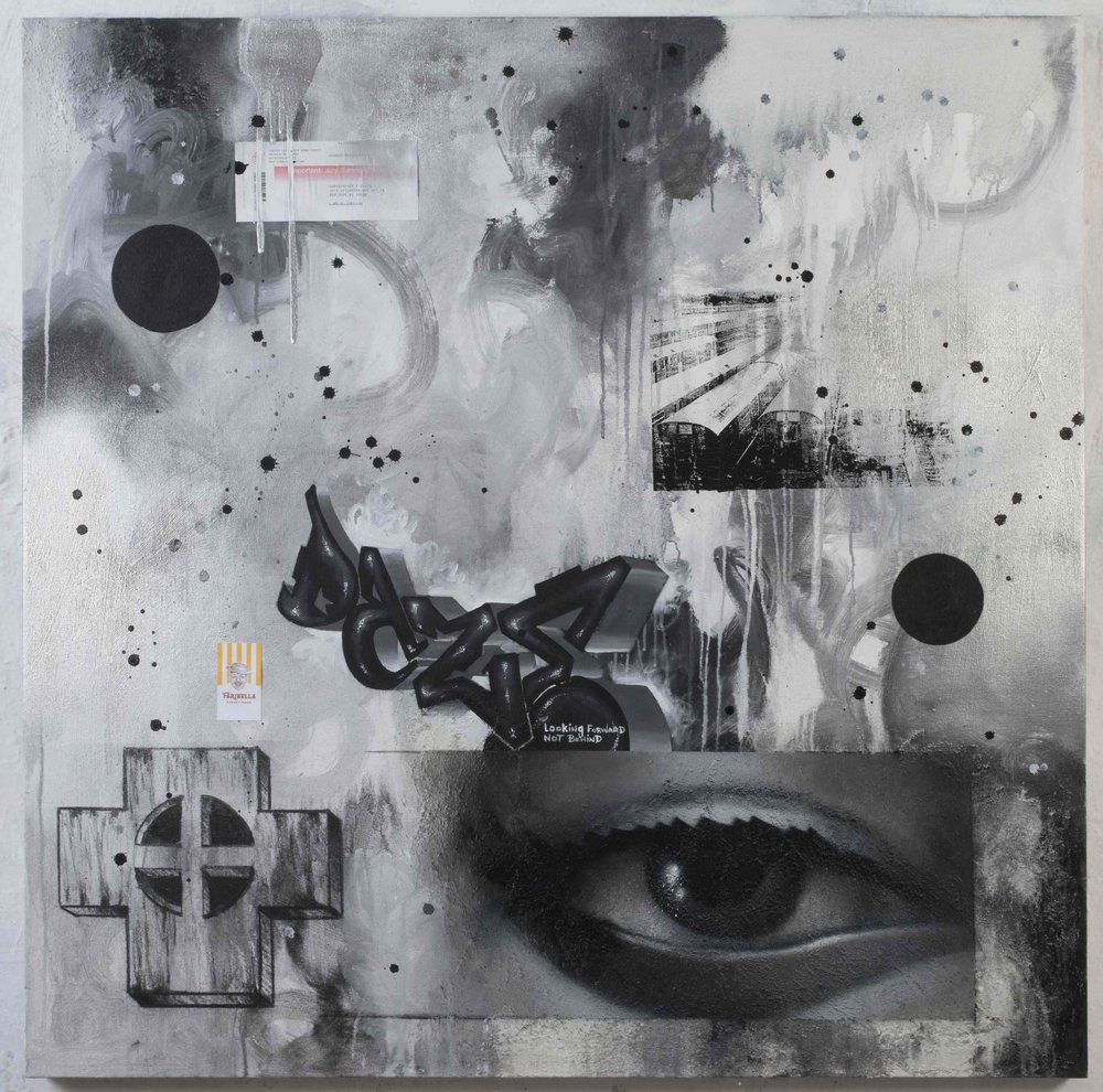 DAZE  Moonage daydream , 2009  Spray paint, silkscreen, and acrylic on canvas Signed, dated and titled on reverse  48 x 48 in.