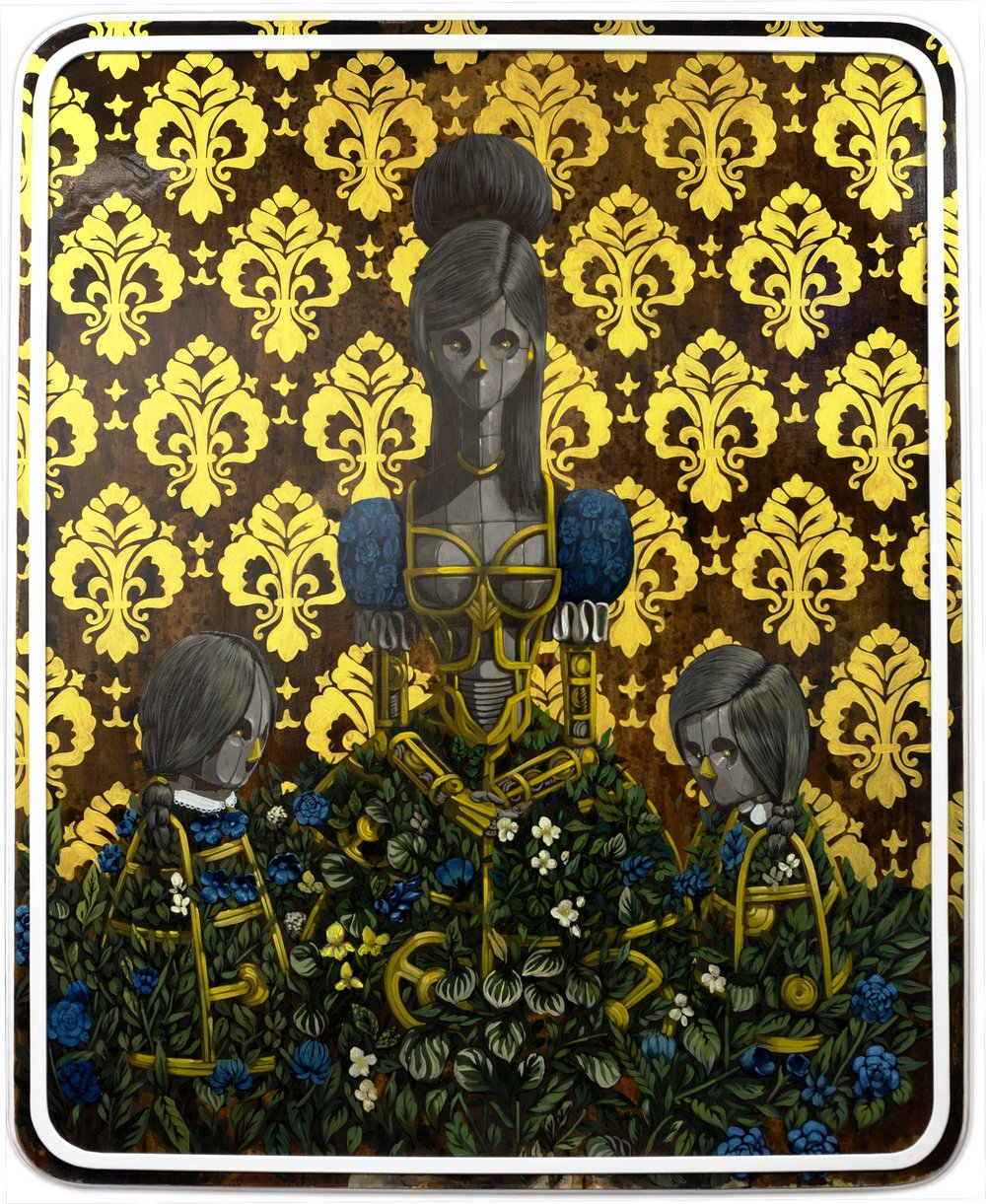 "PIXELPANCHO  Mothers like Daughters (Family Portrait Series) , 2017  Acrylic on reclaimed wood panel. Signed, dated and annotated ""Family Portraits!"" on reverse  59 x 48 in."
