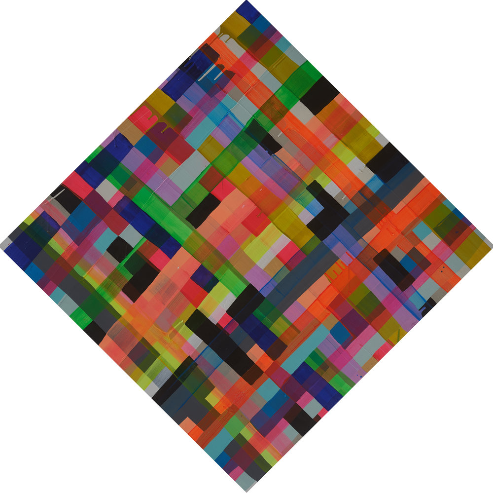 MAYA HAYUK  Untitled Grid , 2012  Acrylic and latex on birch panel. Signed and dated on reverse  36 x 36 in.