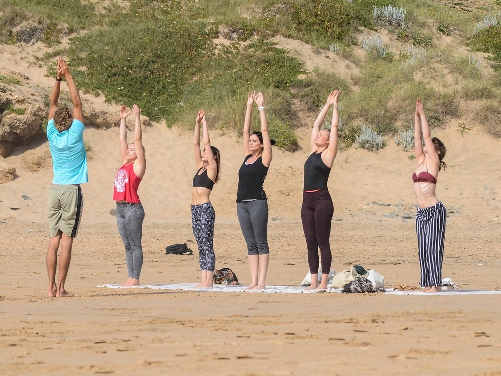 yoga Algarve on the beach
