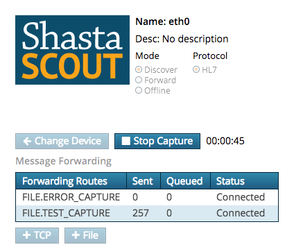 Scout running a Discover capture to identify streams of HL7 messages being sent to and from the system.png