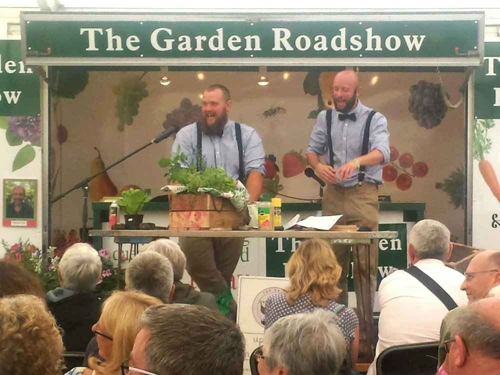 The Hairy Gardeners demonstrating up-cycling on stage at the Chorley Flower Show 2017