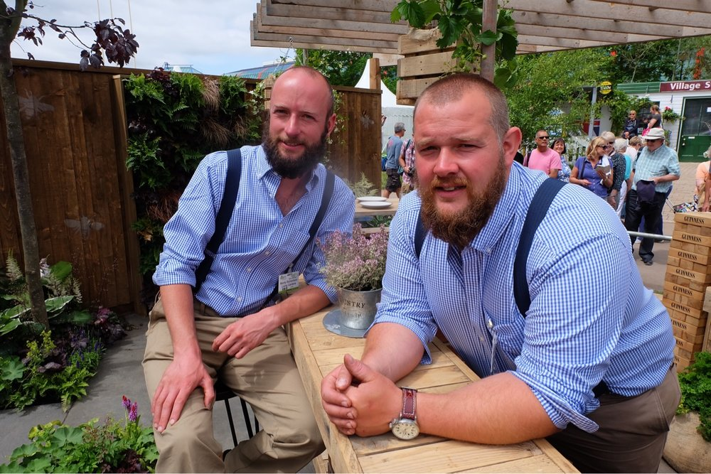 Peter & Monty relaxing in their show garden 'Its Not Just About the Beard' from Gardeners World Live 2017