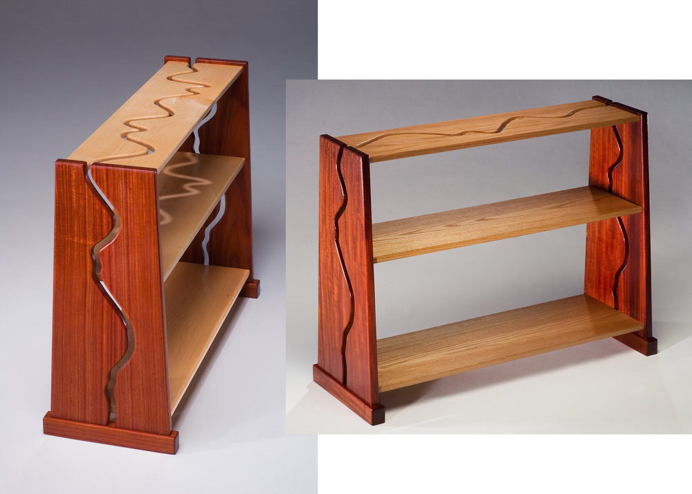 PADAUK AND MAPLE OR RED OAK BOOKCASES