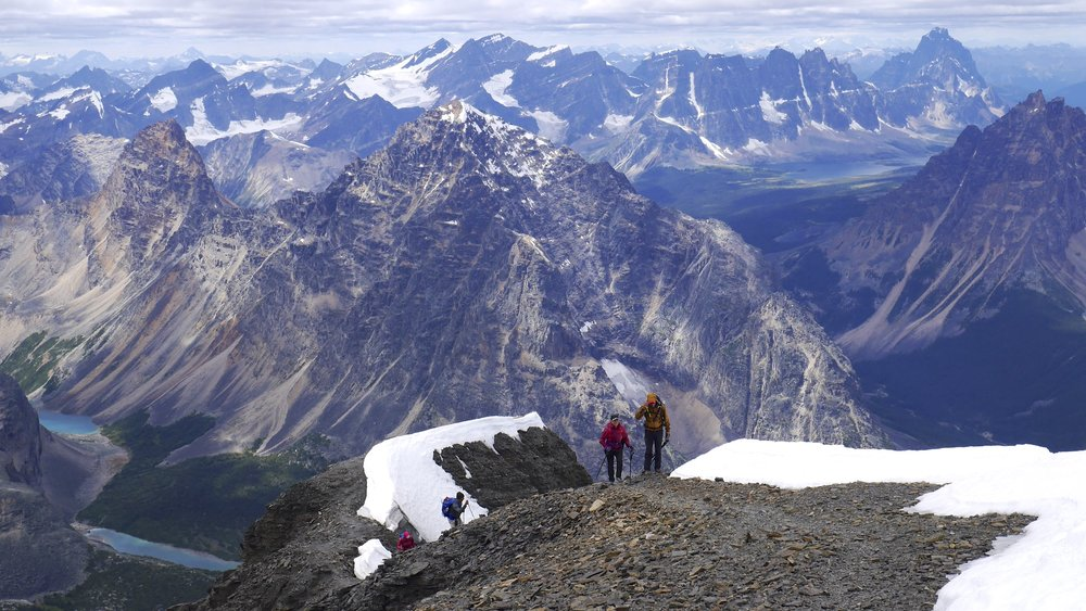 Mt. Edith Cavell  summit ridge.  The Tonquin Valley is visible on the right.
