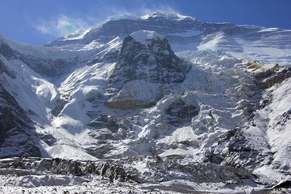 The spectacular icefall of Dhaulagiri I west face.