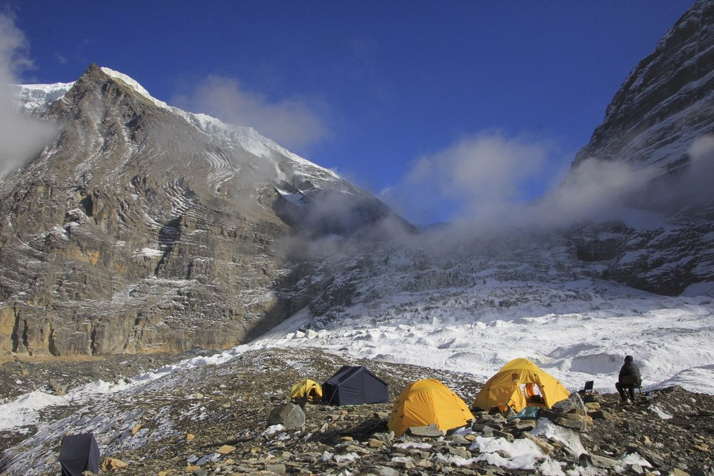 Our camp on the Dhaulagiri Glacier.