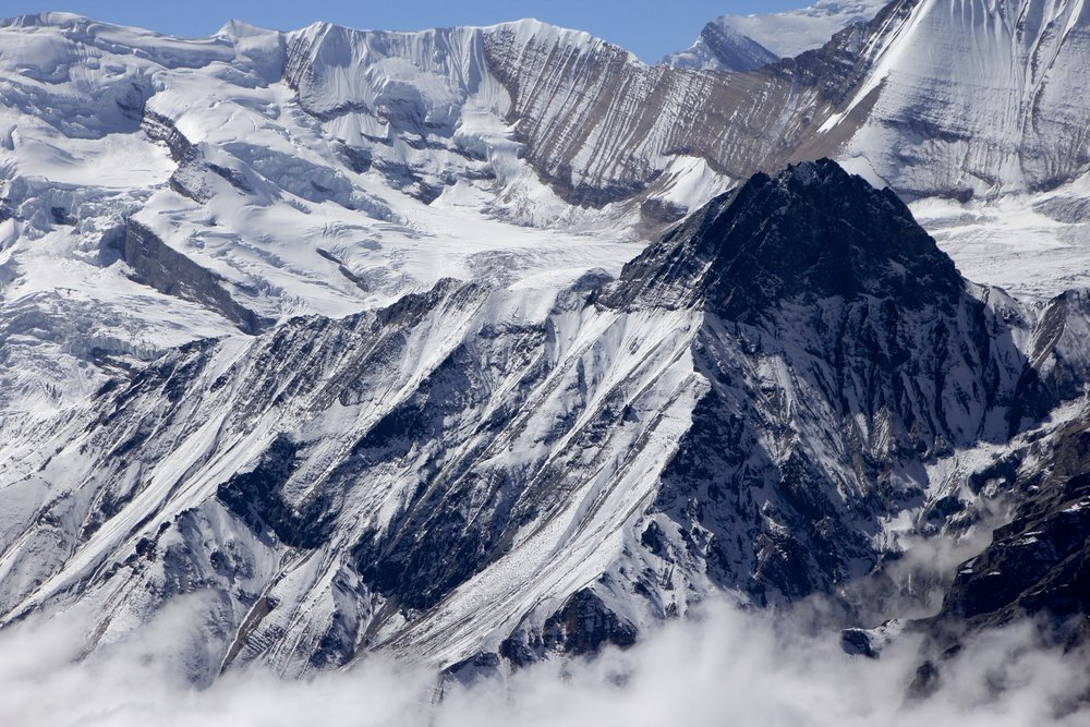 Lower section of Dhaulagiri II and the surrounding glaciers.