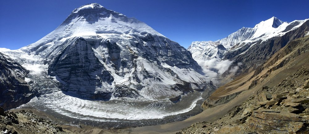 The panorama of Dhaulagiri I and the Dhaulagiri Glacier.