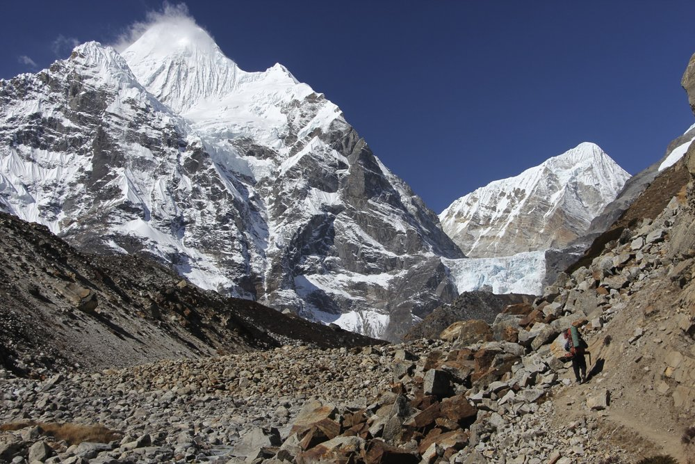 Chamlang and satellite peak of Baruntse on the right