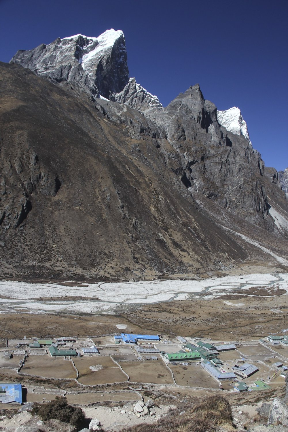 Pheriche village and Mt. Cholatse.