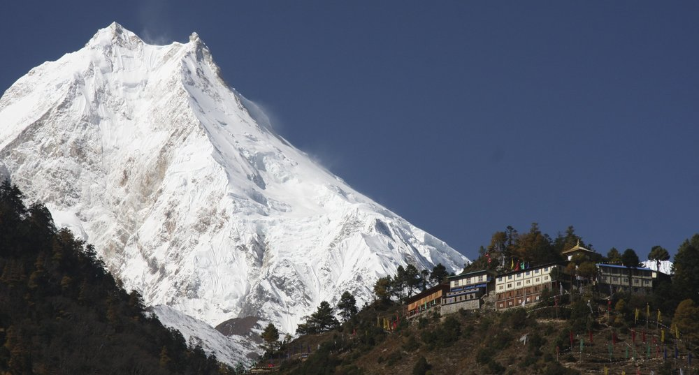 First view of Manaslu from Lho Village