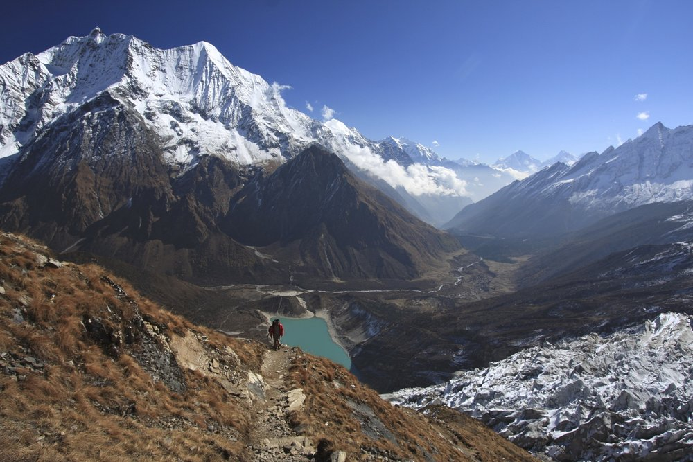 Approach to Manaslu basecamp - looking towards the Ganesh Himal and down the Bhudi Ghandaki Valley