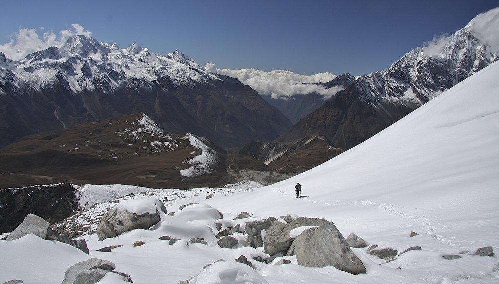 Descending from Yala Peak. The Langtang Valley below.