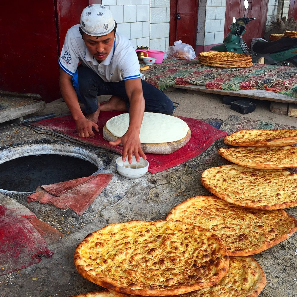 The delicious bread at the Uyghur market.