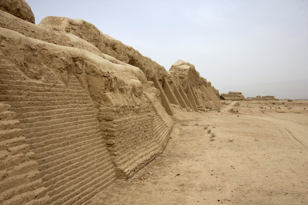 Gaochang city was built in the 1st century BC, it was an important site along the Silk Road. The old city defensive wall.