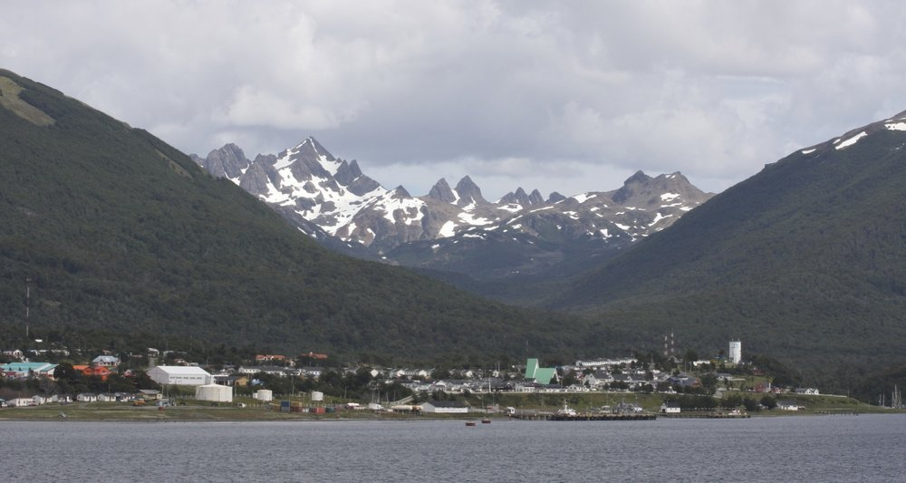 Puerto Williams and Los Dientes mountains on the Navarino Island