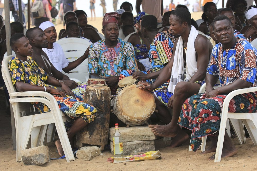 Drummers waiting for their turn in the voodoo ceremony