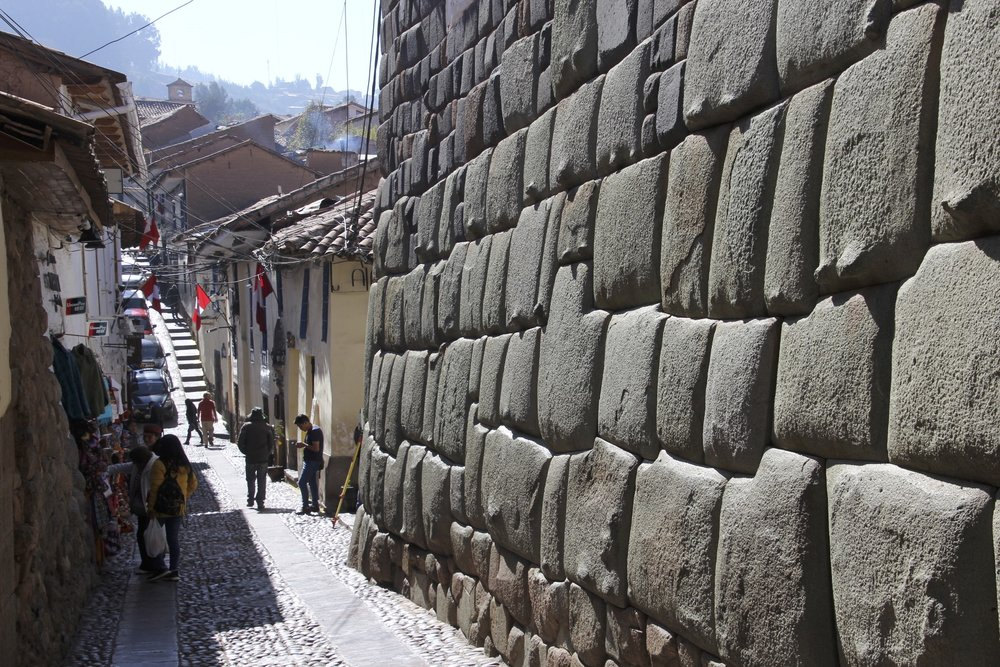 Old Inca wall in Cusco with the famous 12 angled stone