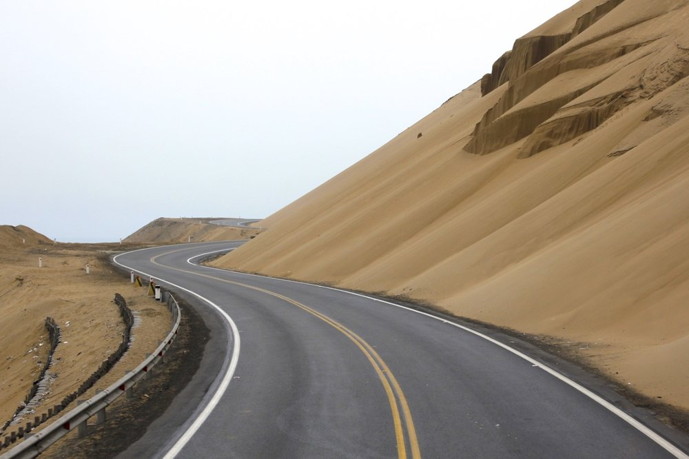 The TransAmerican Highway along the coastal desert of central Peru