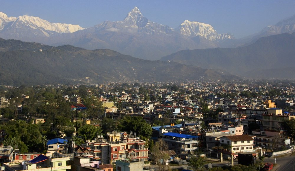 Machapuchare from Pokhara. Pokhara is a beautiful city and very different from the capital of Nepal.