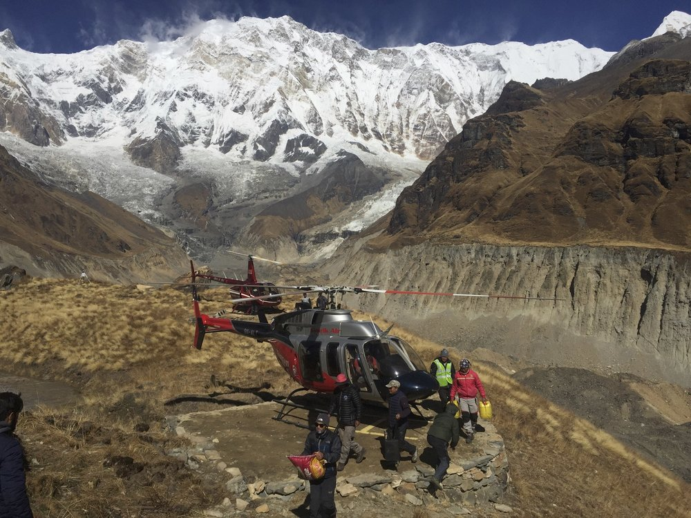 The Heliport at the Annapurna BC. Due to recent changes and restrictions by the Gov, tourist flights to the ABC are no longer allowed.