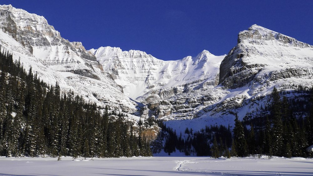 Mt. Lefroy and Lake O'Hara in winter