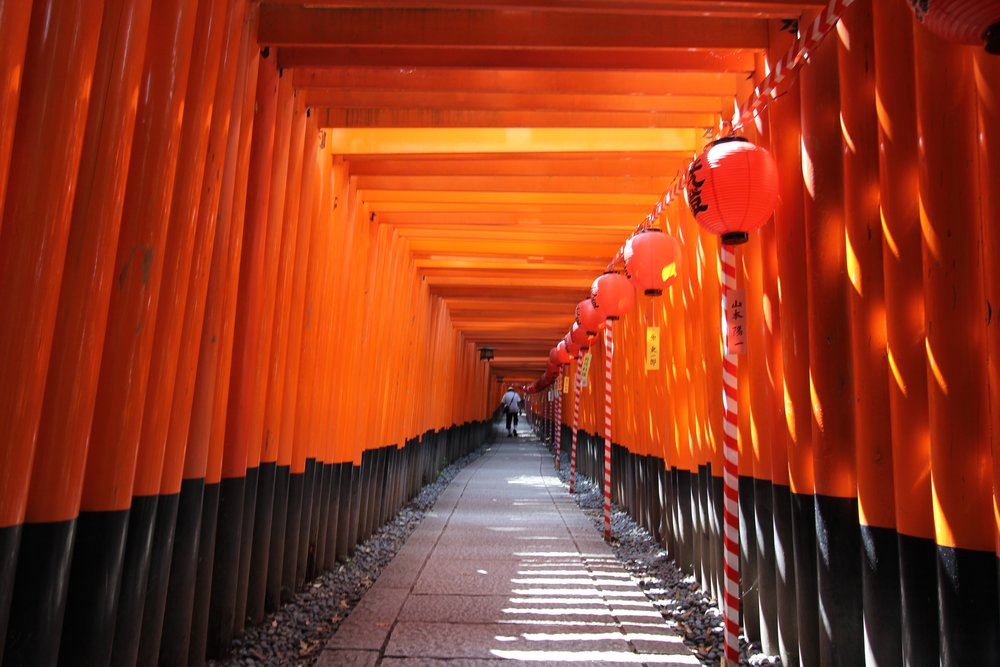 An  Inari shrine in Kyoto  ( Inari Jinja ) is a Shinto Shrine dedicated to the worship the god Inari. There are many Inari shrines in Japan. The deity is worshiped also in some Buddhist temples.