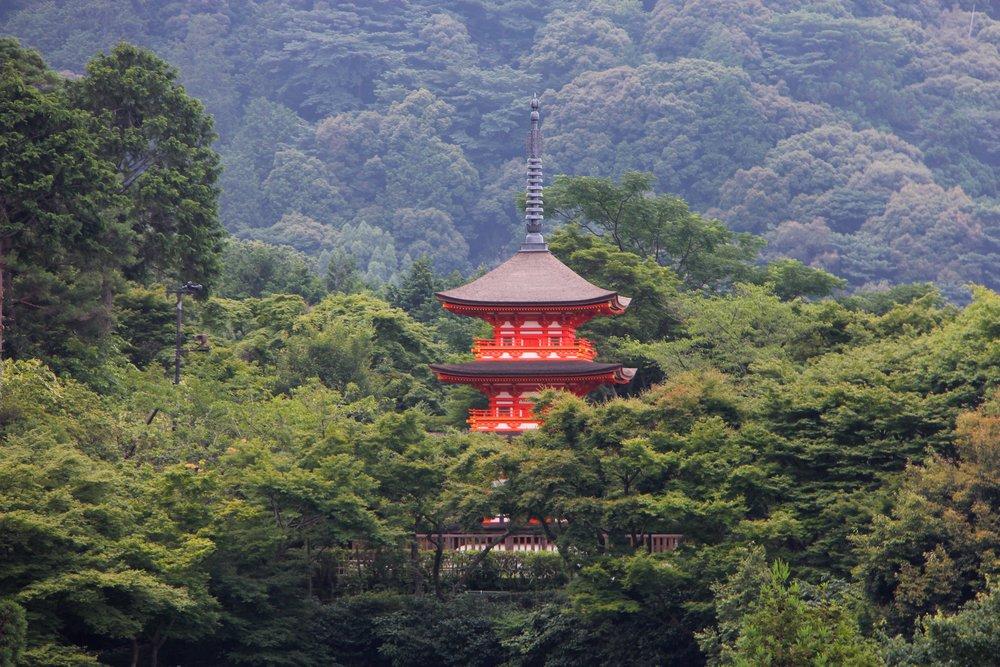 Kiyomizu-dera  in Kyoto, Three story pagoda.