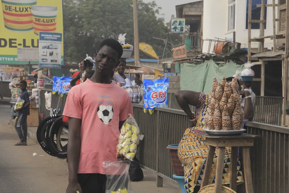 One of many colourful street vendors in Accra, Ghana