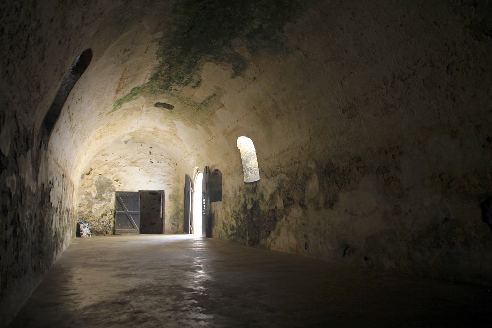 Slave holding cells from where they were led to waiting ships in the Elmina slave castle