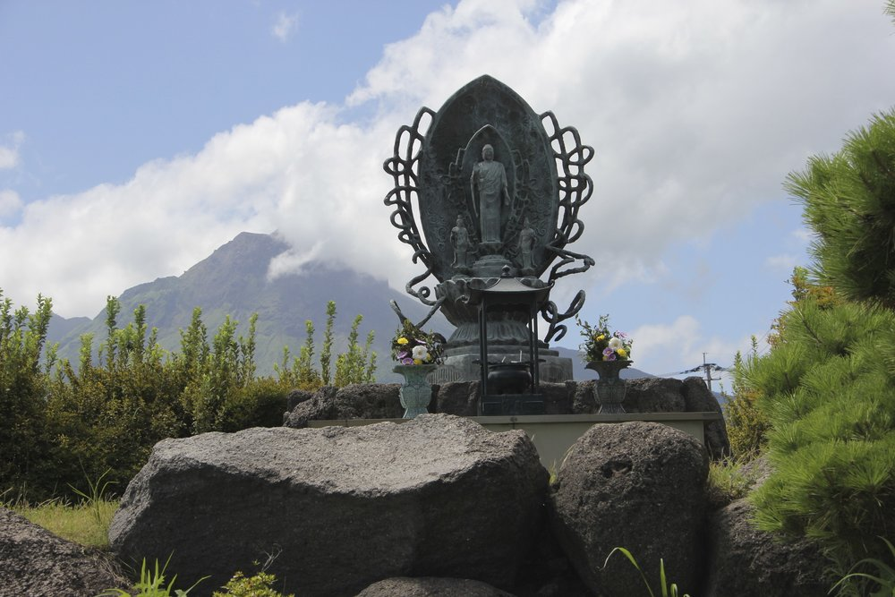 A shrine dedicated to the victims of Mount Unzen eruptions.