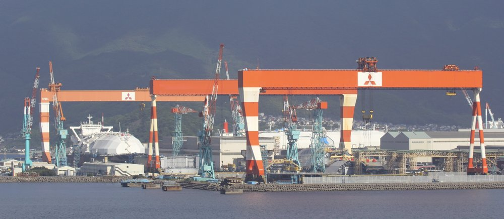Mitsubishi Shipyards in Nagasaki specializing in building LNG ships.