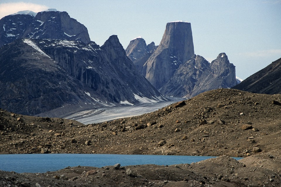 Turner Glacier and Mt. Asgard (shown in the Bond film The Spy Who Loved Me) with an 800 m (2,600 ft) face.