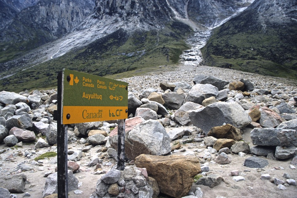 The most common backpacking route in the park is known as Akshayuk Pass, and follows the Weasel and Owl rivers via Summit Lake. In 2008, heavy rain and warm weather caused Summit Lake to burst through its banks, flooding the Weasel River and washing away the Windy Lake bridge. As a result, the hiking routes in the pass are limited to either side of the Weasel River.