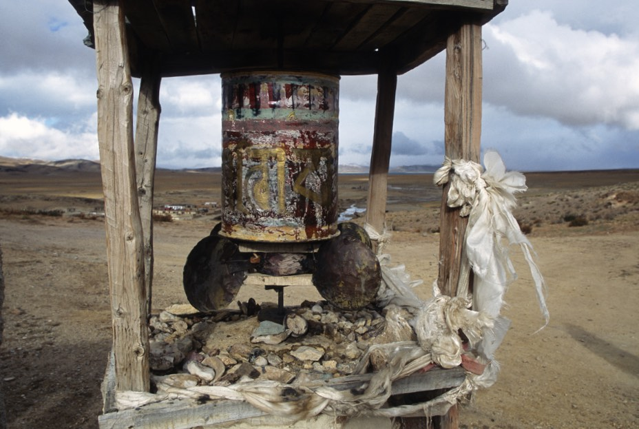 An old prayer wheel powered by wind blades. The silence is broken by the sound of the wind and the squeaks of the wind-powered prayer wheel. For one of the holiest places on Earth it had a very remote and secluded feel.