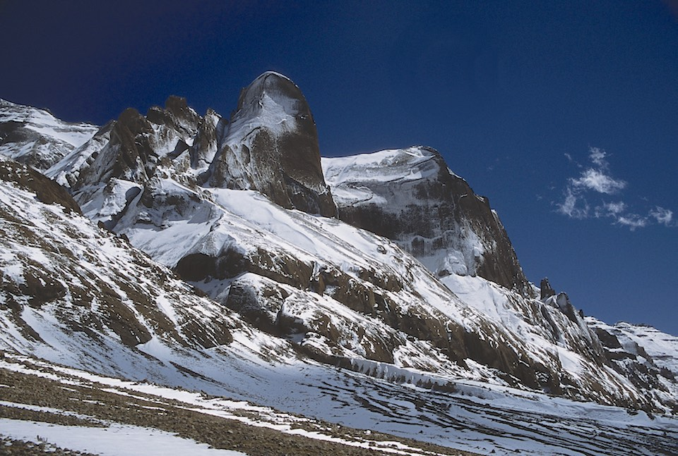 Mt. Kailash - western flank. It has these unreal rock formations.