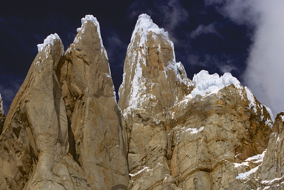 Looking up Cerro Torre from its base - now it looks like a real tower