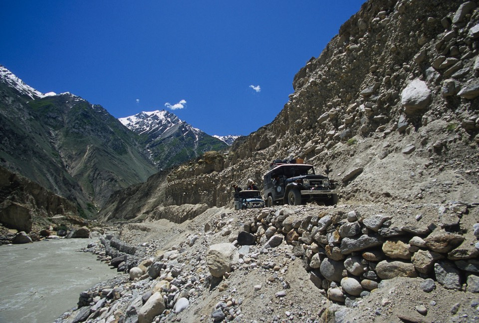 The road from Skardu to Askole along the Braldu River. Askole is at 2,965m.