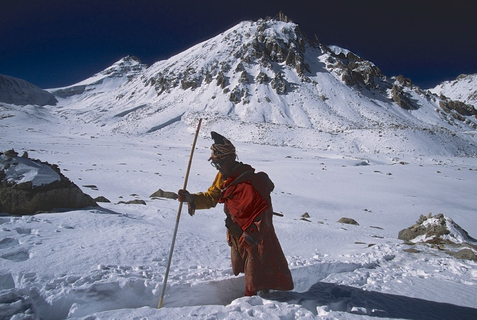A Tibetan monk on the Mt. Kailash kora