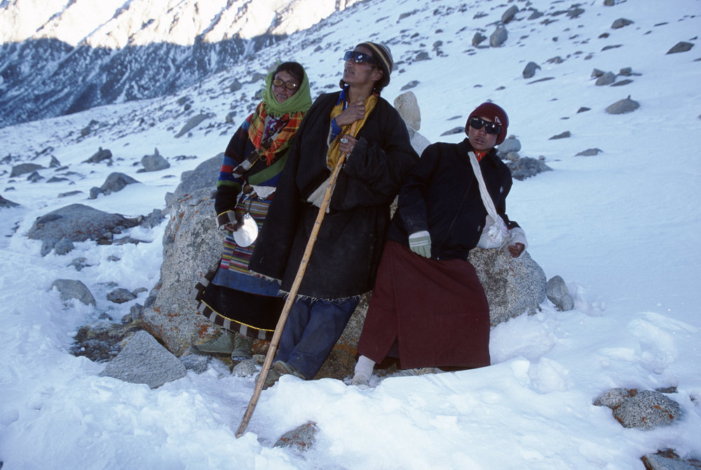 Tibetan pilgrims on the lora of Mt. Kailash