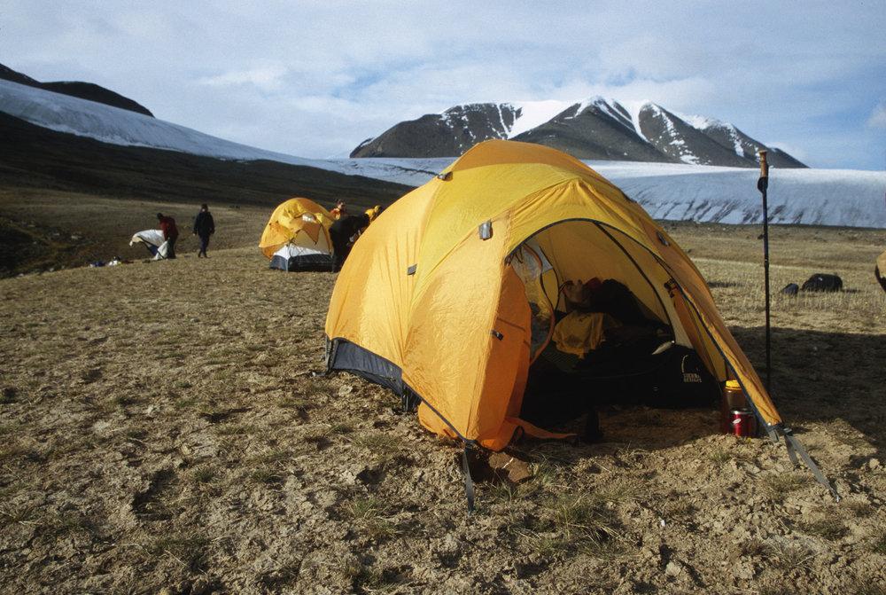 Camping by Adams Glacier