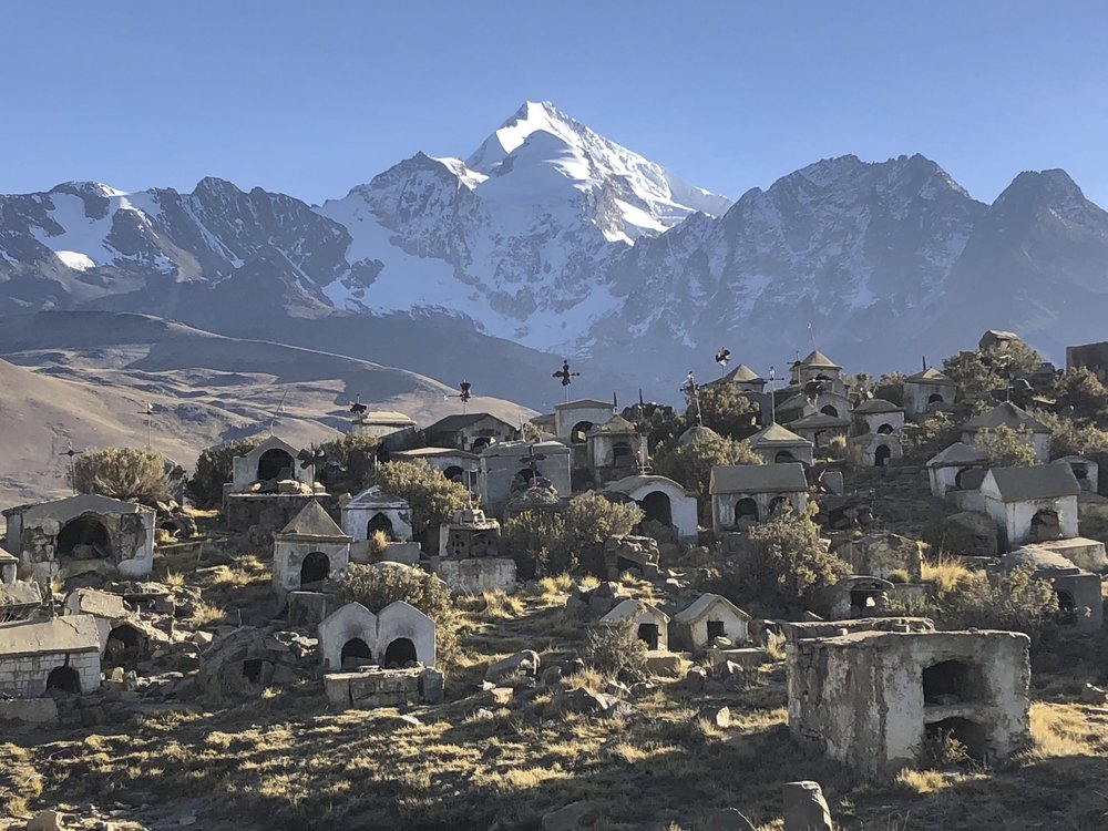 Huayna Potosi and an old cemetery of miners