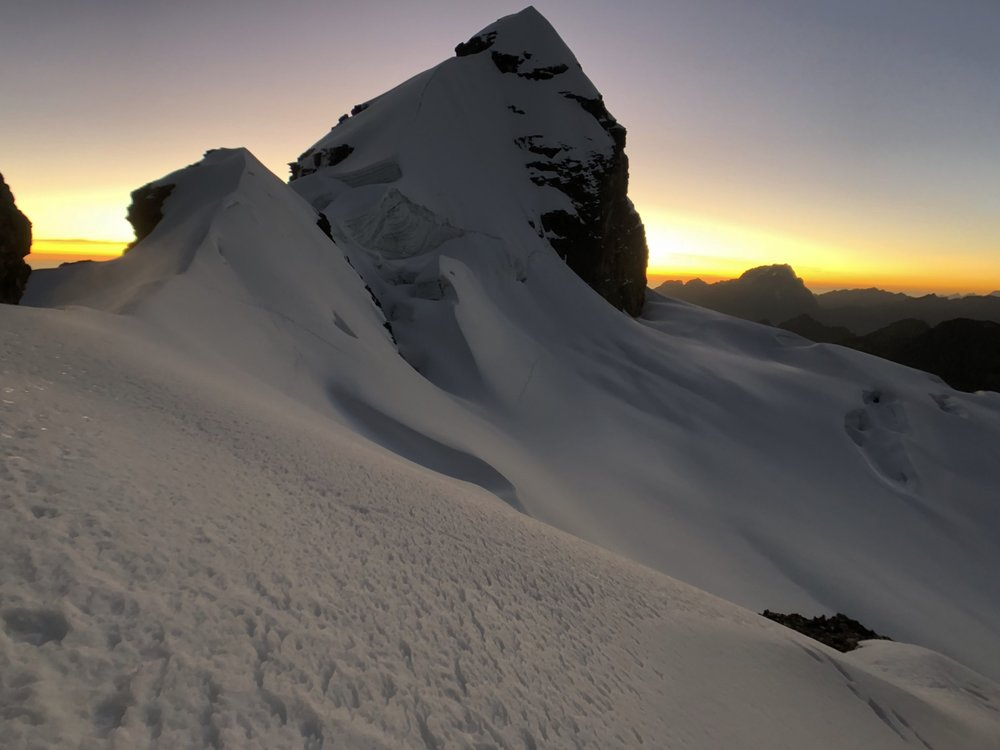 sunrise on the Pequeno Alpamayo 5,434m.