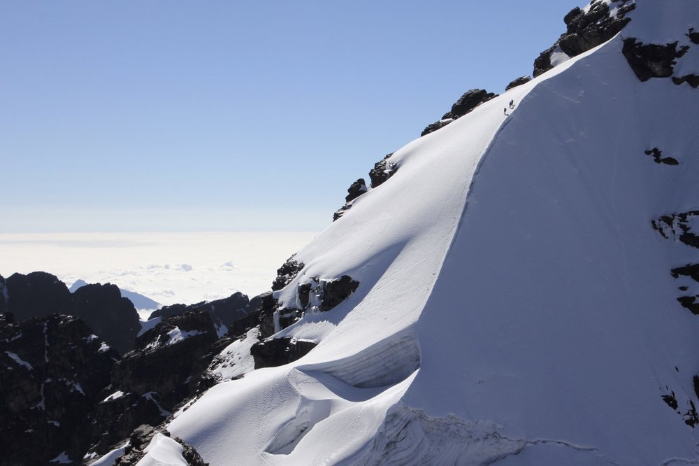 The summit ridge of Pequeno Alpamayo 5,434m.