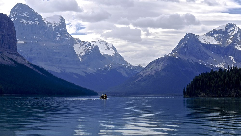 Mt. Warren and Mt. Henry Macleod from Maligne Lake