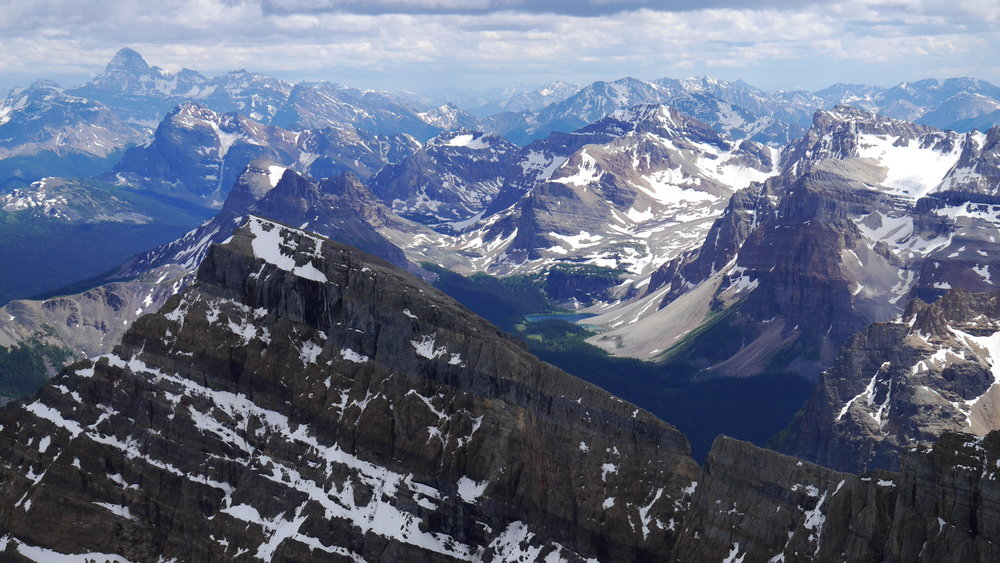 Looking south from Storm Mountain, Mount Assiniboine on the left.