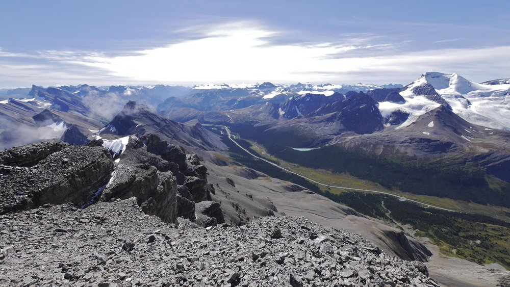 The Icefield Parkway from Nigel Peak